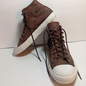 CONVERSE LEATHER HIGHTOPS BROWN BEATER USA FLAG